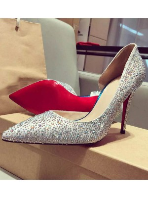 Women's Satin Closed Toe Stiletto Heel With Rhinestone Shoes