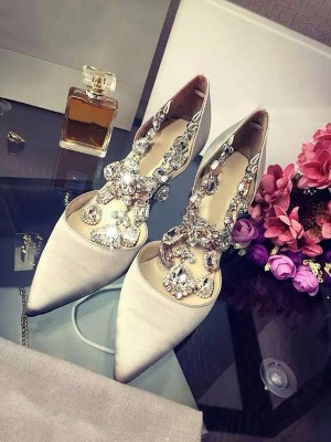 Women's Closed Toe Satin Stiletto Heel With Rhinestone Chain Shoes