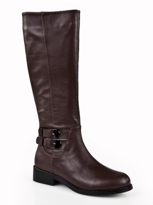 Women's Kitten Heel Closed Toe Cattlehide Leather With Buckle Mid-Calf Boots
