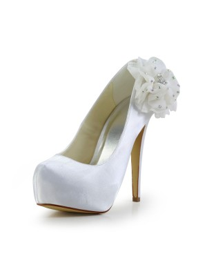 Women's Satin Stiletto Heel Closed Toe Platform Wedding Shoes With Rhinestone