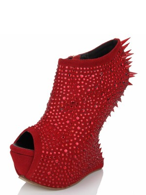 Women's Peep Toe Wedge Heel Suede Platform With Rhinestone Shoes