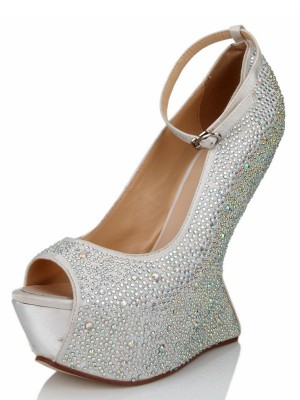 Women's Wedge Heel Silk Peep Toe With Rhinestone Platform Shoes