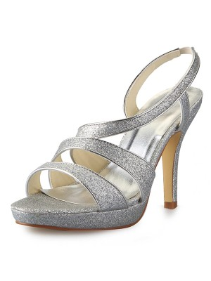 Women's Cone Heel Platform Satin Peep Toe With Sparkling Glitter Sandal Shoes