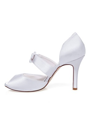 Women's Satin Peep Toe With Bowknot Stiletto Heel Wedding Shoes