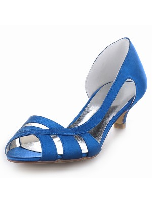 Women's Satin Peep Toe Kitten Heel Sandal Shoes