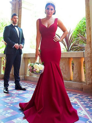 Trumpet/Mermaid Sleeveless V-neck Elastic Woven Satin Sweep/Brush Train Bridesmaid Dresses