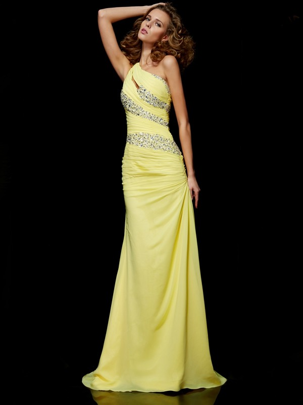 Sheath/Column One-shoulder Sweep Chiffon Sleeveless Beading Dresses