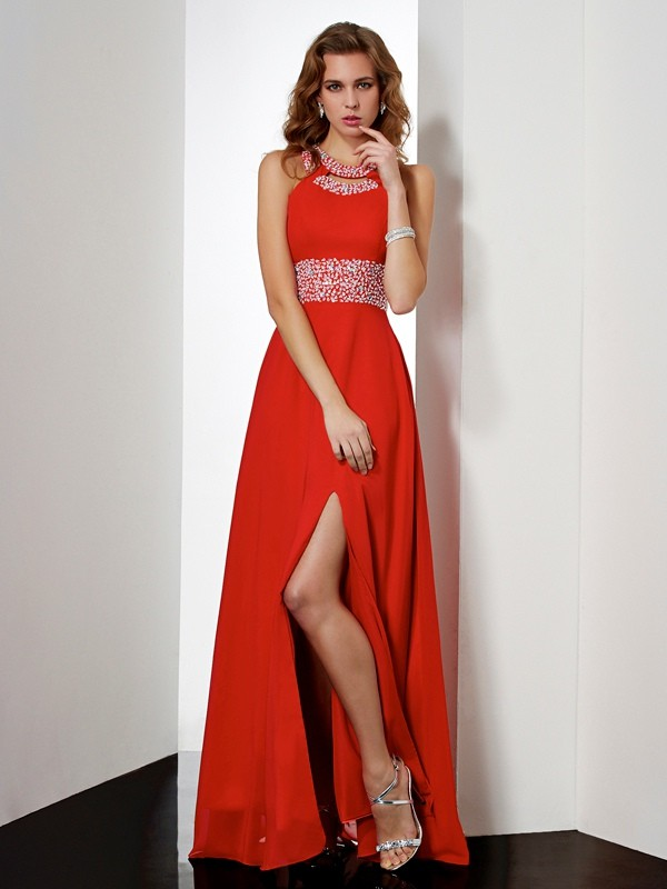 Empire Jewel Floor-length Sleeveless Acrylic Jewels Dresses