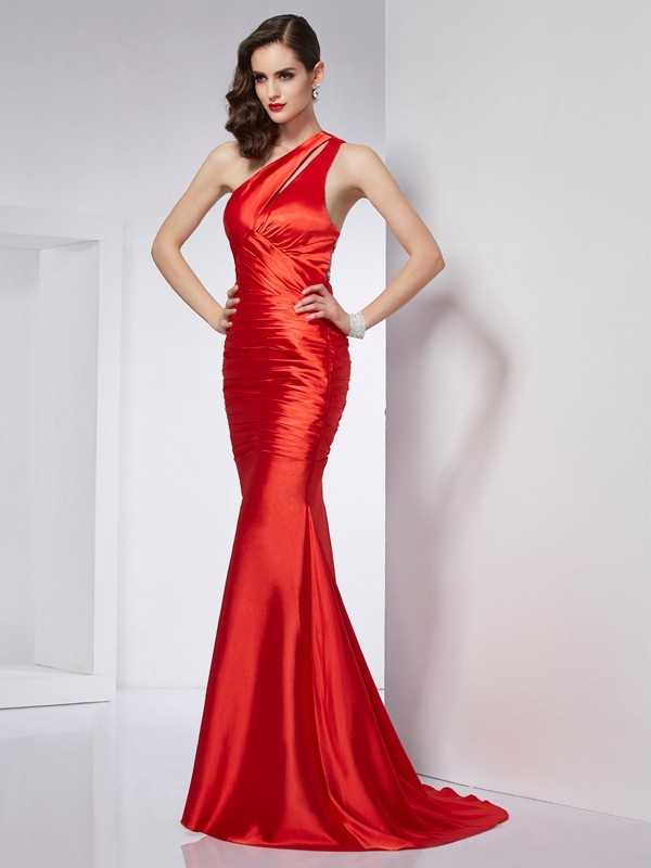 Sheath/Column One-Shoulder Sleeveless Brush Train Beading Elastic Woven Satin Dresses