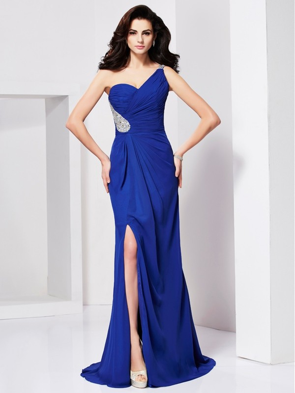 A-line/Princess Beading One-shoulder Pleats Sweep/Brush Train Dresses