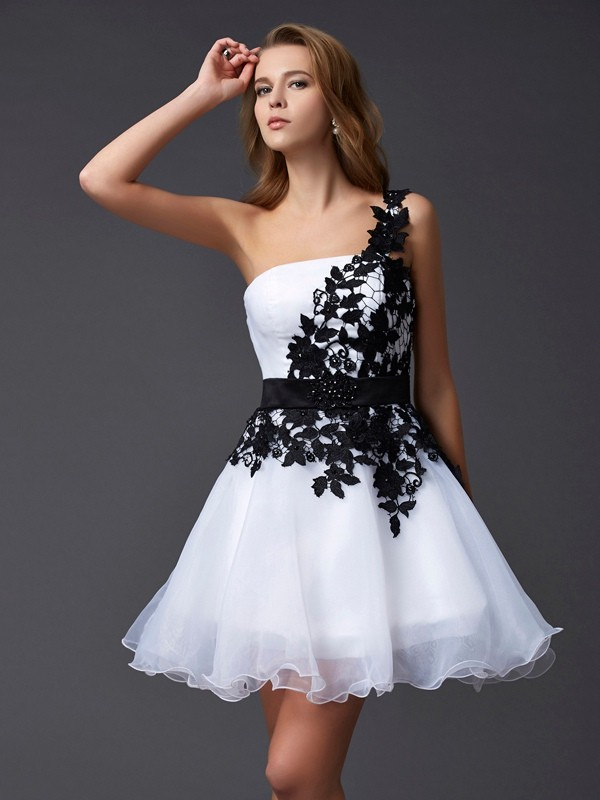 A-Line/Princess Sleeveless One-Shoulder Mini Organza Dresses
