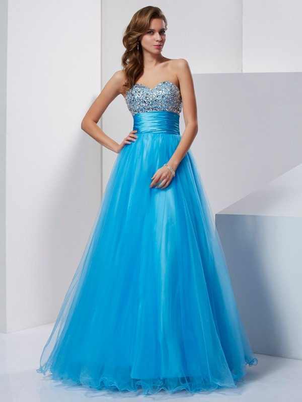 Princess Strapless Sweetheart Crystal Floor-Length Tulle Dresses