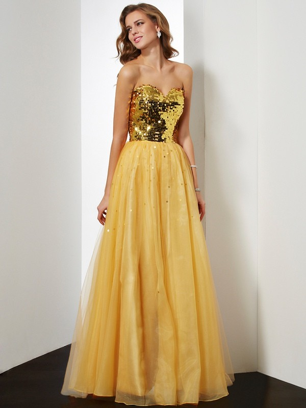 Ball Gown Sweetheart Sleeveless Sequin Organza Floor-Length Dresses