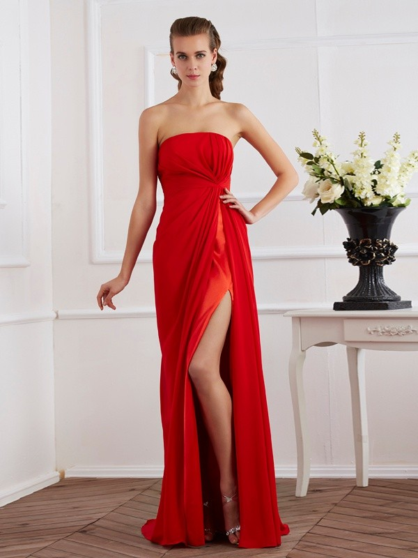 Sheath/Column Strapless Chiffon Floor-Length Pleats Dresses