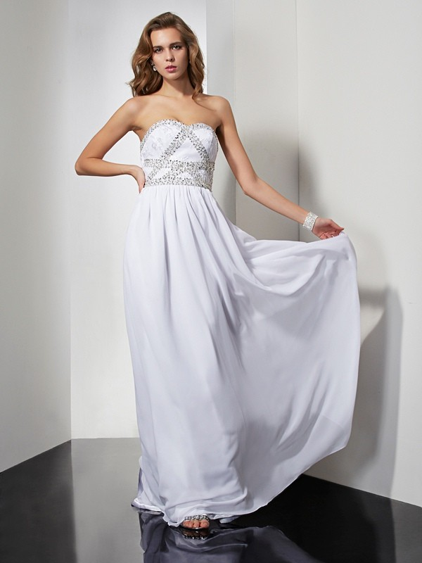 Sheath/Column Chiffon Strapless Sweetheart Beading Floor-Length Dresses