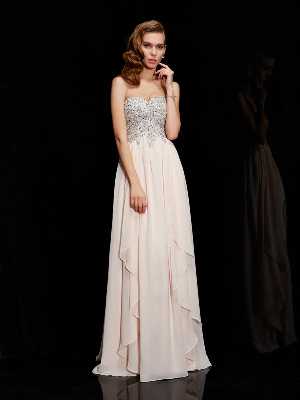 Sheath/Column Sweetheart Chiffon Floor-Length Beading Dresses