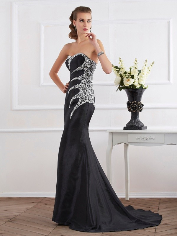 Trumpet/Mermaid Taffeta Strapless Sweetheart Floor-Length Beading Dresses