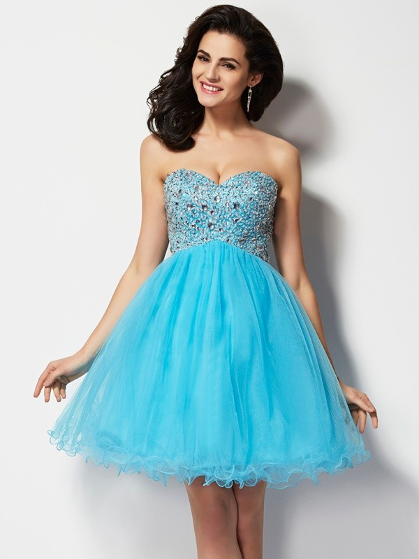 A-Line/Princess Beading Sweetheart Sleeveless Mini Dresses