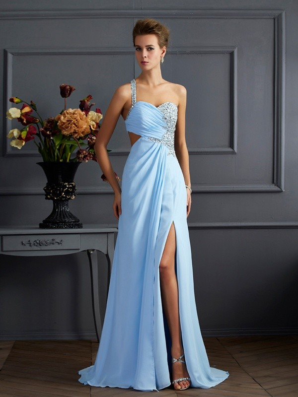 Column One-Shoulder Sleeveless Beading Floor-length Chiffon Dresses