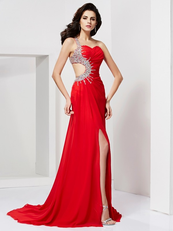 Mermaid Beading Sleeveless Sweetheart Sweep/Brush Train Chiffon Dresses