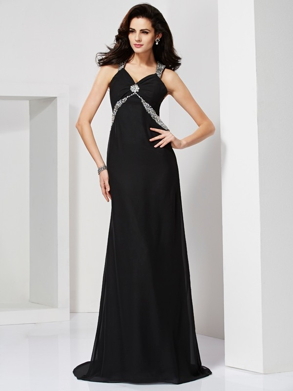 Sheath/Column Beading Straps Sweep/Brush Train Chiffon Dresses