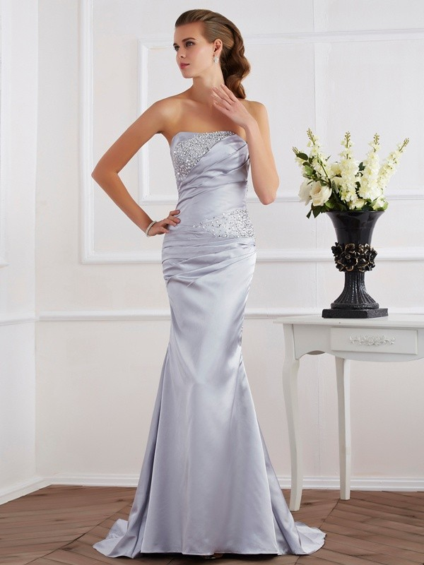 Mermaid Beading Strapless Sleeveless Elastic Woven Satin Dresses