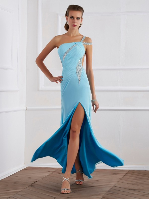 A-Line One-Shoulder Sleeveless Beading Floor-Length Chiffon Dresses