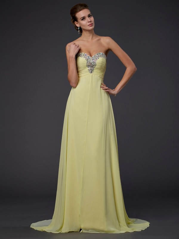 A-Line Sweetheart Sleeveless Beading Floor-length Chiffon Dresses