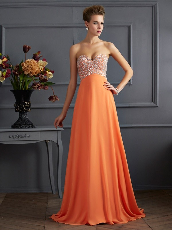A-Line/Princess Sweetheart Rhinestone Chiffon Floor-length Dresses