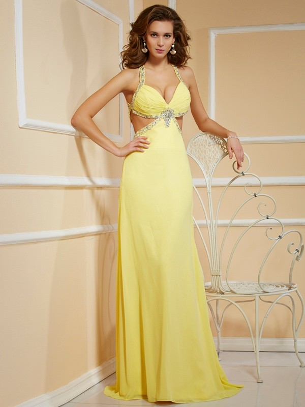 Sheath/Column Beading Spaghetti Straps Long Sleeveless Chiffon Dresses