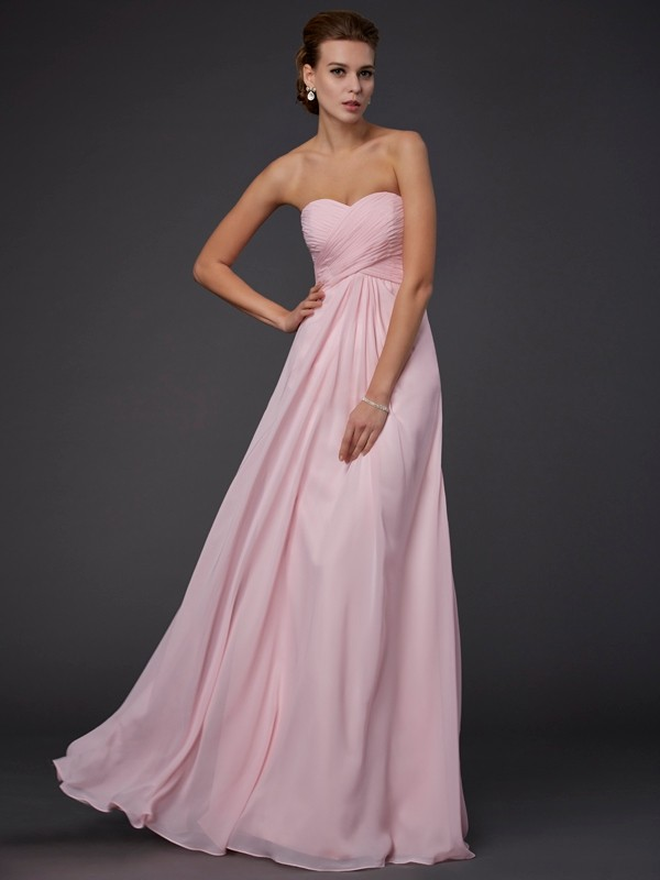 Sheath/Column Sleeveless Sweetheart Ruffles Long Chiffon Dresses
