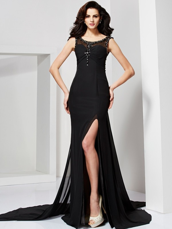 Sheath/Column Scoop Beading Floor-Length Chiffon Dresses