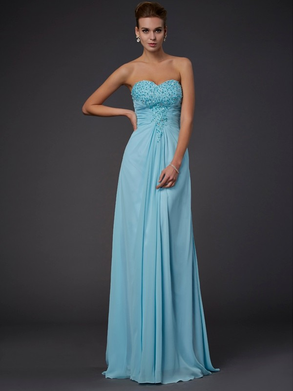 Sweetheart Beading Floor-Length Chiffon Dresses
