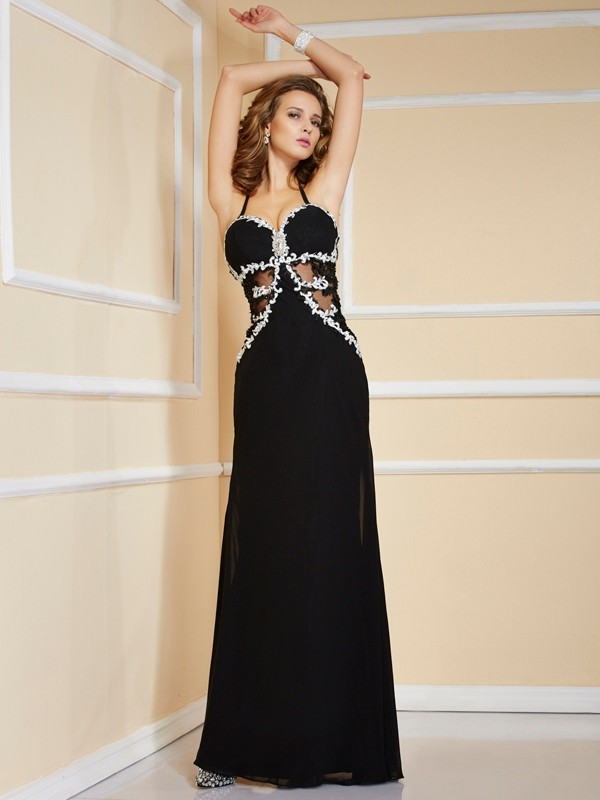 Sheath Sleeveless Spaghetti Straps Applique Floor-Length Chiffon Dresses