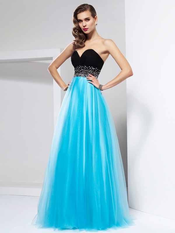 A-Line/Princess Floor-Length Sweetheart Net Ruffles Dresses