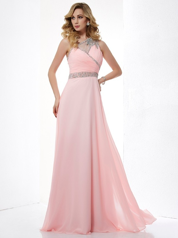 A-Line One-Shoulder Beading Chiffon Long Dresses