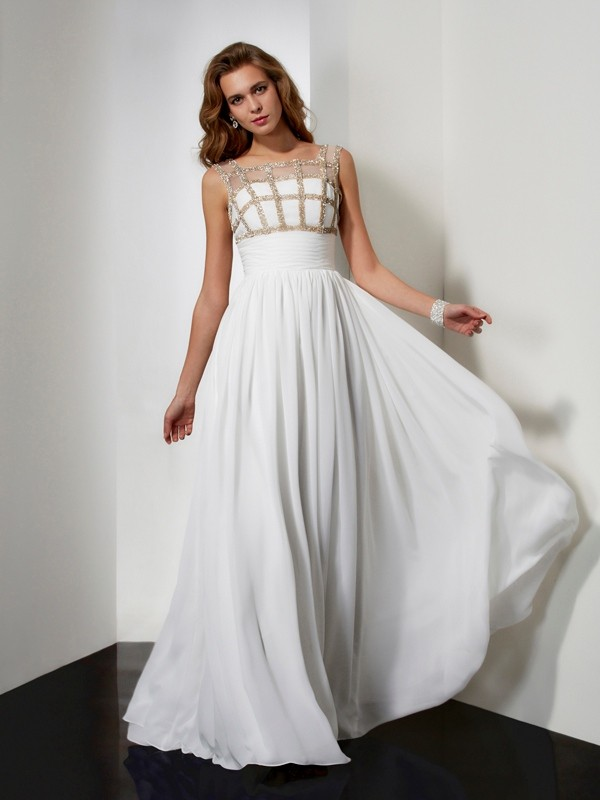 A-Line/Princess Long Straps Sleeveless Beading Chiffon Dresses