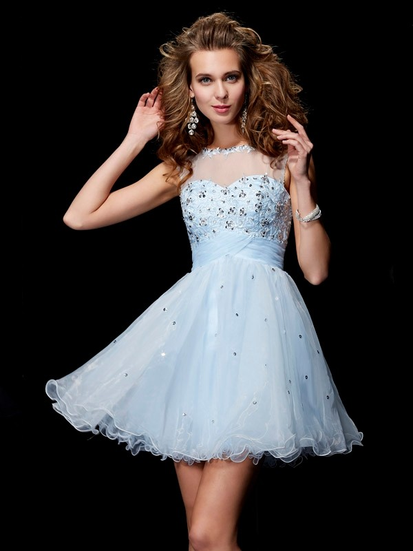 A-Line/Princess Scoop Beading Short/Mini Elastic Woven Satin Dresses