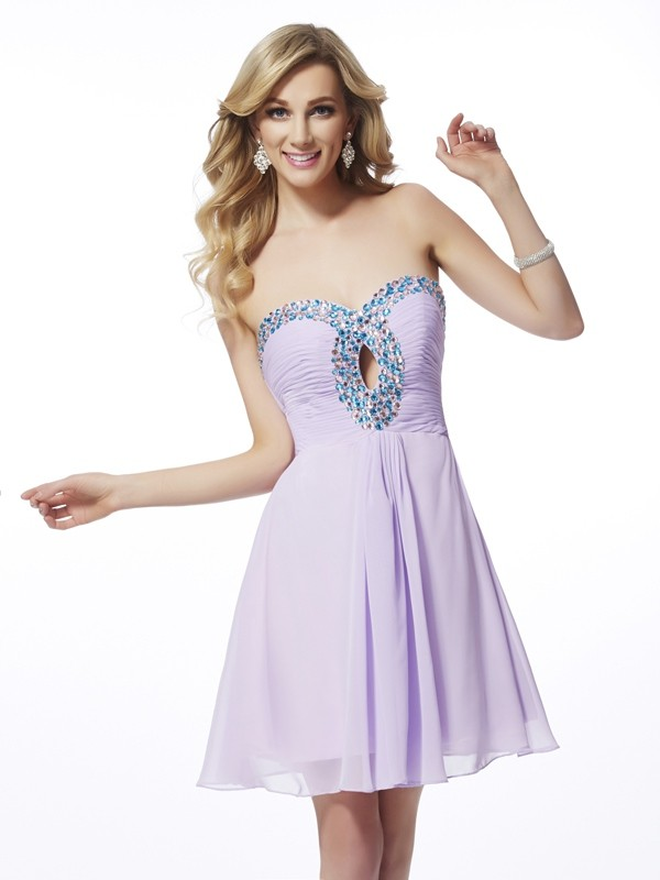 A-Line/Princess Sweetheart Beading Sleeveless Chiffon Short/Mini Dresses