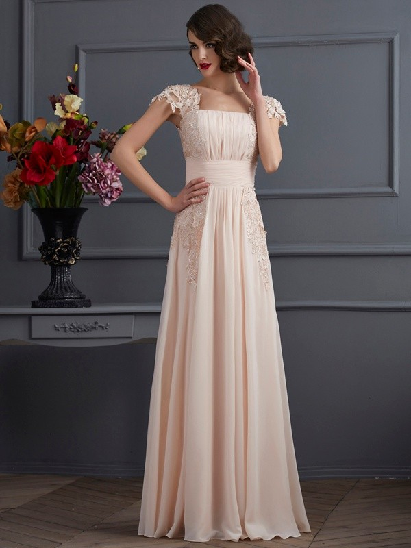 A-Line/Princess Square Short Sleeves Long Chiffon Dresses With Lace
