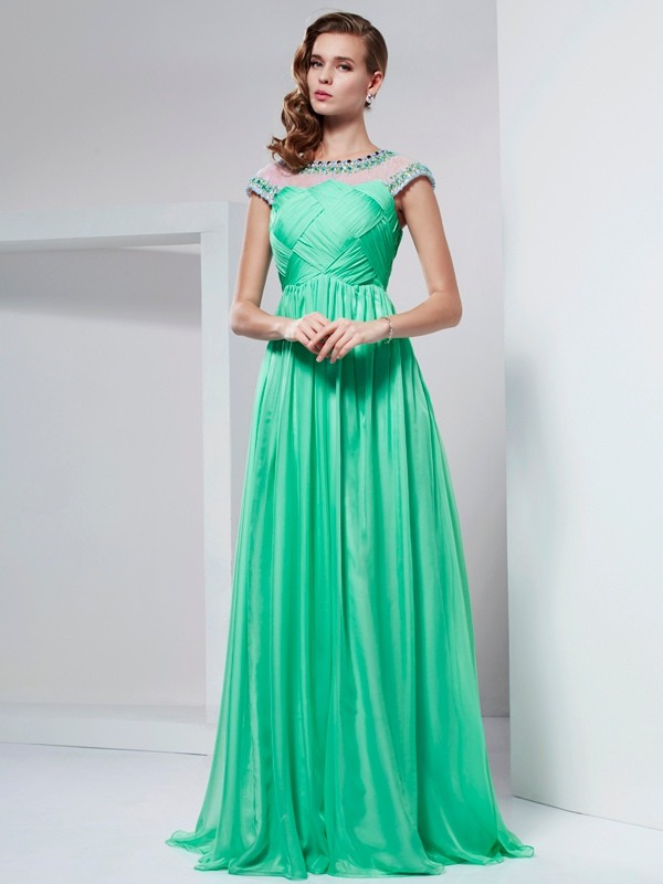 A-line/Princess High Neck Beading Long Chiffon Dresses