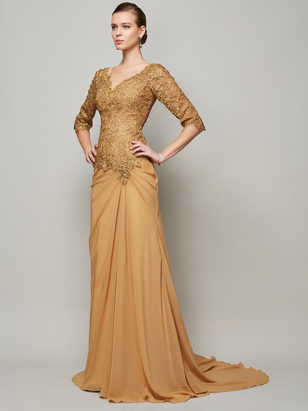 Sheath/Column V-neck Beading Chiffon Long Lace 1/2 Sleeves Dresses
