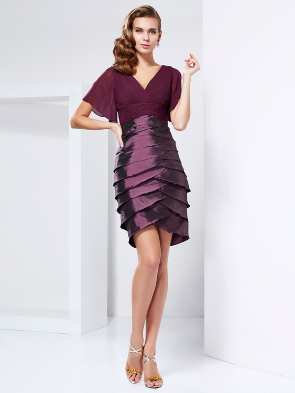 A-line/Princess Short Sleeves V-neck Tiered Taffeta Mother Of The Bride Dresses