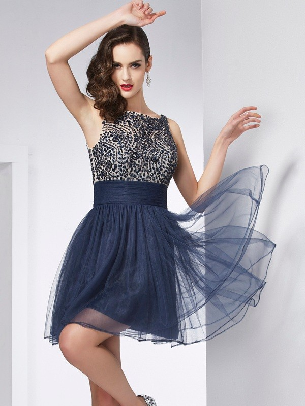 Sheath/Column Bateau Beading Tulle Short/Mini Dresses