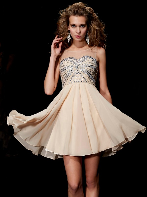A-Line/Princess Scoop Beading Short/Mini Chiffon Dresses
