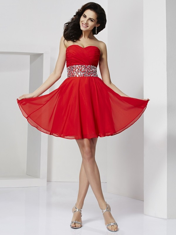 A-line/Princess Sleeveless Sweetheart Rhinestone Short/Mini Chiffon Dresses