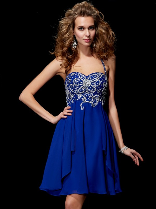 A-Line/Princess Halter Sleeveless Beading Short/Mini Chiffon Dresses