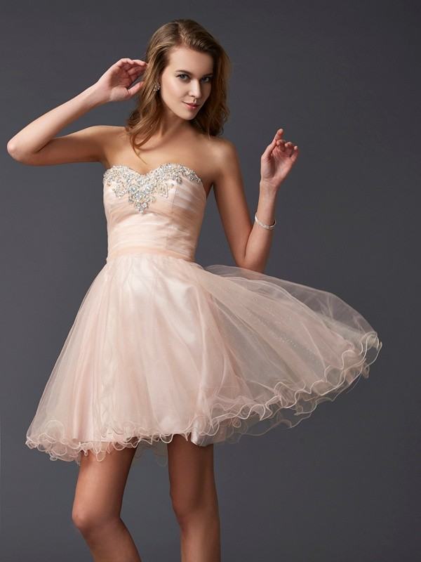A-Line/Princess Sleeveless Sweetheart Silk like Satin Short/Mini Dresses