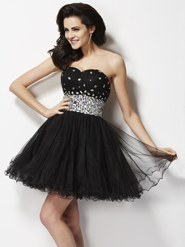 A-Line/Princess Beading Sleeveless Sweetheart Sequin Short/Mini Elastic Woven Satin Dresses