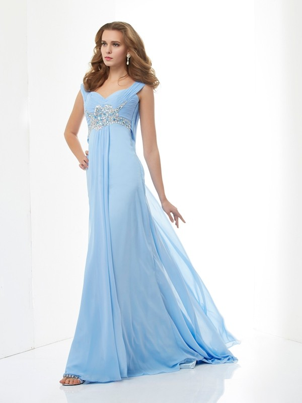 A-Line/Princess Sweetheart Straps Sleeveless Beading Chiffon Sweep/Brush Train Dresses